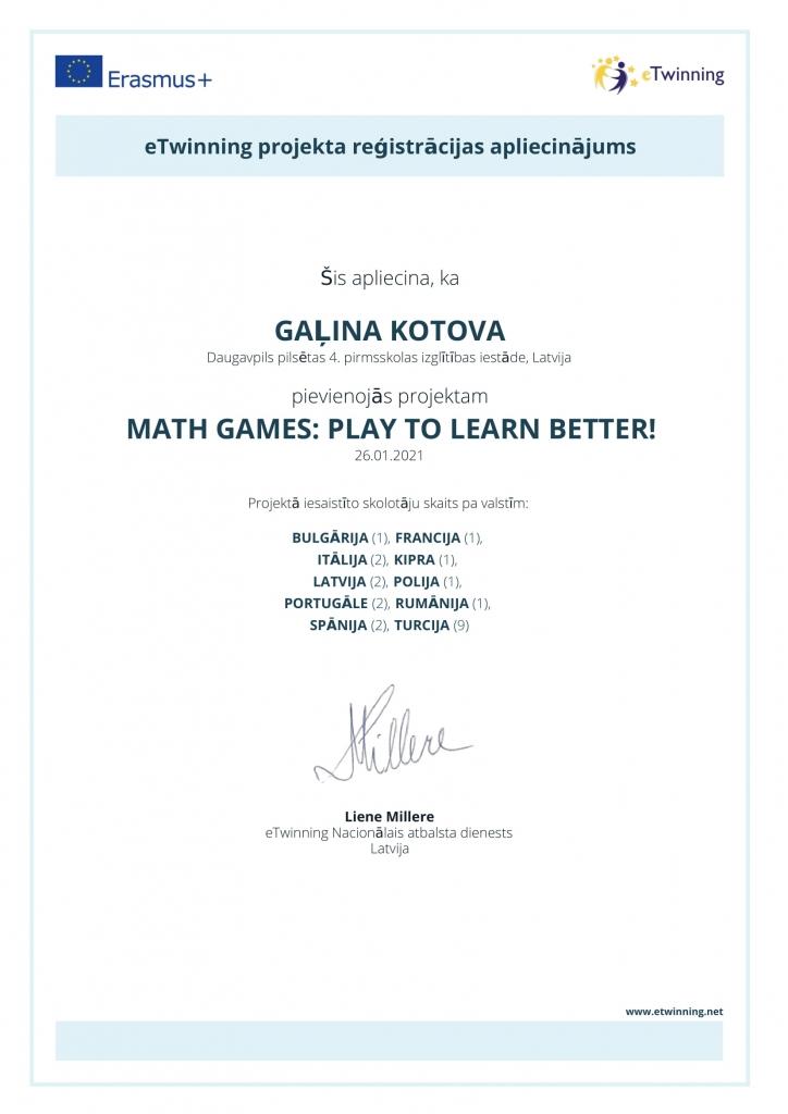 etwinning apliecinājums_Gaļina Kotova